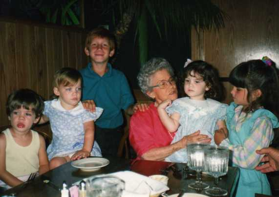 Mama Bea holding Lauren and her cousins... Jaymi, Megan, Steve and Jenna.