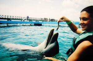 Feeding the dolphins in Cozumel, Mexico