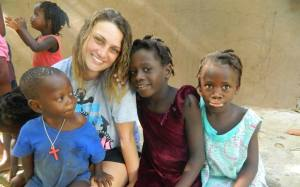 Emily and some of her friends in Haiti.